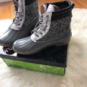 Sam Edelman Gray Silver Duck Boots Size 9